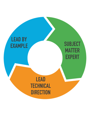Lead by example, subject matter expert, lead technical direction